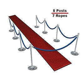 Queueing Stanchions (8-Pack with 7 Blue Velvet Ropes)