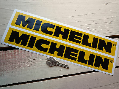 MICHELIN Race Car STICKERS 305mm Pair Yellow & Black Classic Racing Bike Tyres