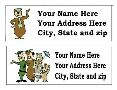120 Yogi Bear Return Address Labels