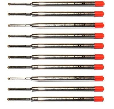 10 Parker Style Ballpoint Pen Ink Refills, Smooth Flow Ink, Red, Medium