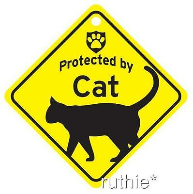 Protected by Cat Window Sign Made in USA