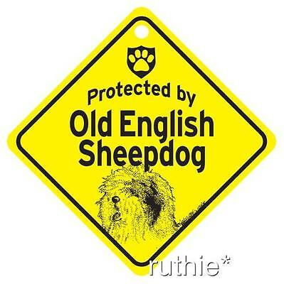 Protected by Old English Sheepdog Window Sign Made USA