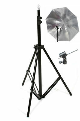 TWO Photo Studio Light Stands Flash Mount Umbrellas Kit