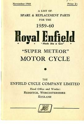 Royal Enfield Super Meteor  Illustrated Parts Book 1960