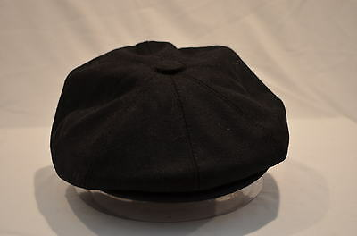 0233be59 Mens Hat Black Or Grey Peaked Peak 8 Piece Newsboy Baker Boy 8-Panel Gatsby