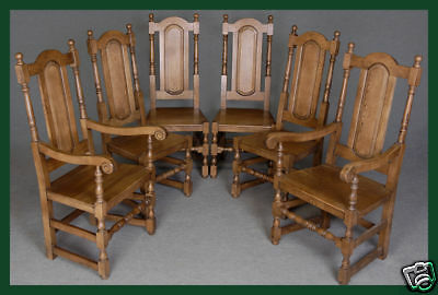 Eight (8) Solid Oak Panel Back Dining / Kitchen Chairs