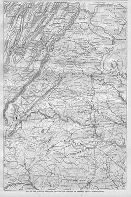 Civil War Map Virginia Campaign Showing Theatre Of General Grant's Combinations