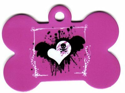 Custom Pet Tag ID Pink W White Emo heart  Bone FAST SSH