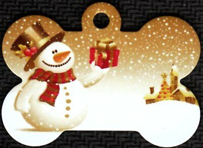 Custom Pet Tag ID Merry Christmas Snowman With Gift