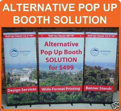 ALTERNATIVE PopUp Retractable Backdrop Tabletop Banner Portable Stand + GRAPHICS