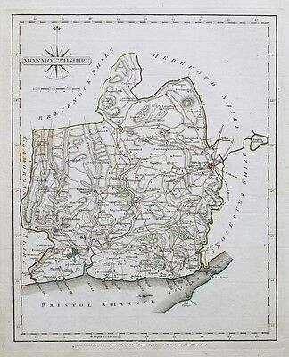 1787 Cary Map Monmouthshire Genuine Antique Hand Coloured Map 1787