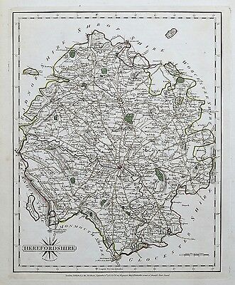 1787 Cary Map Herefordshire Genuine Antique Hand Coloured Map 1787