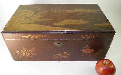 Antique Chinoiserie Wood Lacquer Lap Desk Box