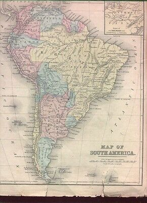 Antique Handcolored Map South America W Railroad Nr