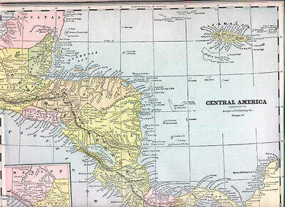 1890 Antique Central America Map W Jamaica Guatemala Nr