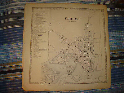 1864 Carthage New York Antique Map Peck Tannery Island