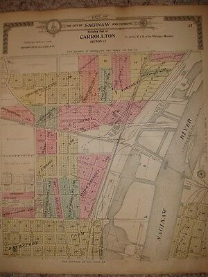 Saginaw Carrollton Chapin Township Michigan Antique Map