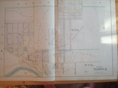 Rochester New York Antique Handcolored Map Railroad Nr