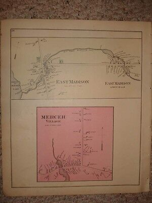 Madison Mercer Moscow Maine Antique Handcolored Map Nr