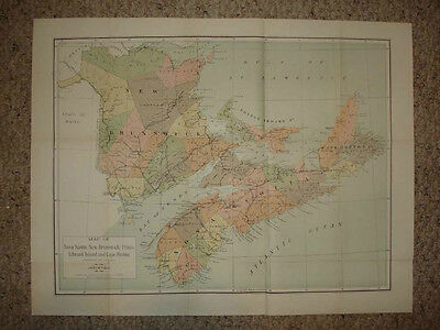 1904 Lrg Antique Map Nova Scotia New Brunswick Canada N