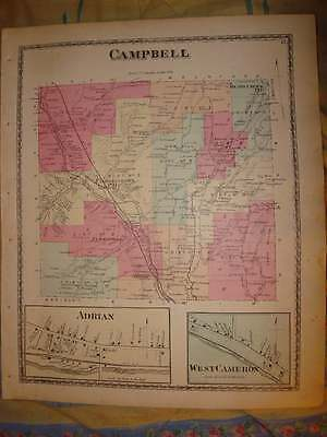 Antique 1873 Campbell Township Curtis Adrian Steuben County New York Handclr Map