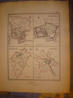 Devonport Plymouth Honiton Totnes England Antique Map N
