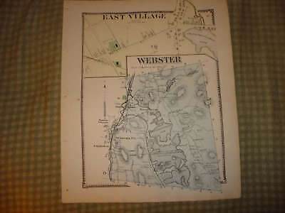 Webster East Village Massachusetts Antique Handcolr Map