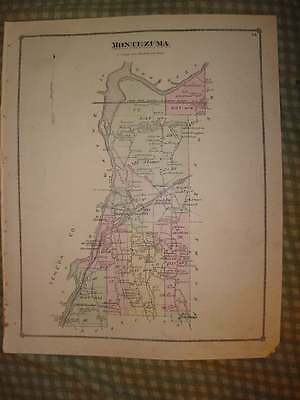 Montezuma Cayuga County New York Antique Handclr Map Nr