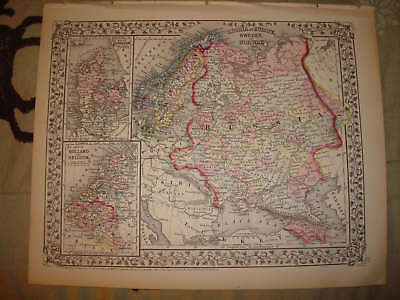 ANTIQUE RUSSIA SWEDEN NORWAY DENMARK HOLLAND MAP MINTnr