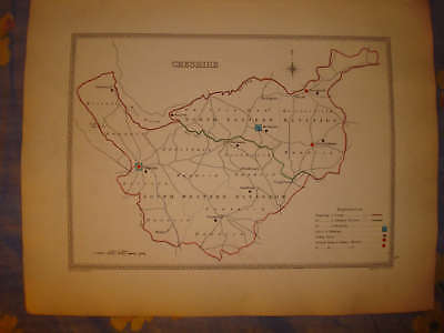 1840 Cheshire Chester Knutsford England Antique Map Nr