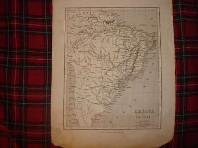 1835 Antique Brazil Uruguay South America Map French Nr