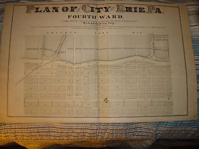 Erie Pennsylvania Antique Handclr Map W Tailor Print Nr