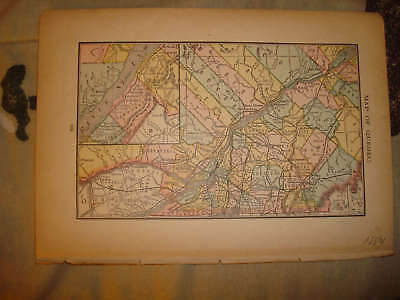 1884 Antique Quebec Canada Map Named Railroad Race Data