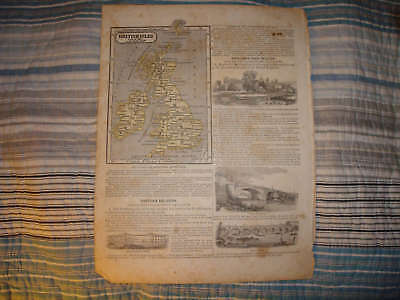 1847 Antique England Scotland Ireland Denmark Map W Art