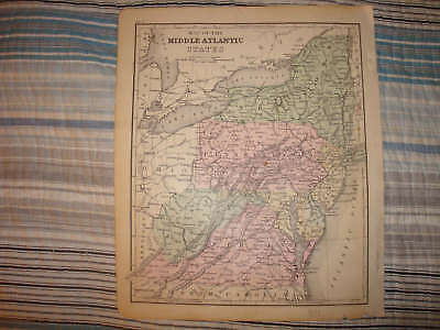 Antique 1875 West & Virginia Maryland New Jersey York Handcolored Map Rare Nr