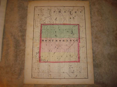 1873 Montmorency Otsego County Michigan Antique Map Nr