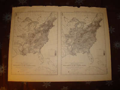 1874 Antique United States Census Population Map Texas