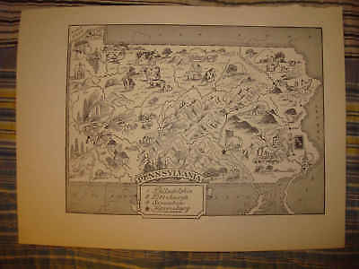 Antique 1951 Pennsylvania Cartoon Pictorial Caricature Map City Farming Industry