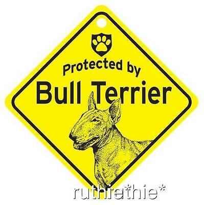 Protected by Bull Terrier Dog Window Sign Made in USA