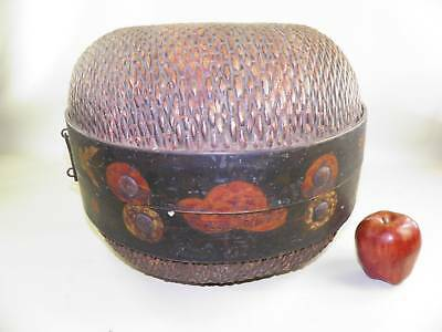 Antique Large Chinese Rice Covered Basket Hand Painted