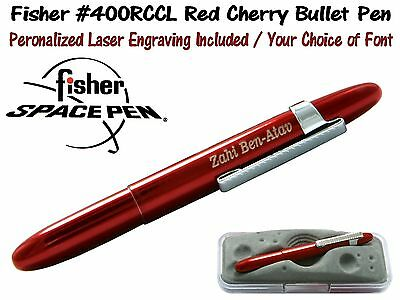 Fisher Personalized #400RCCL/P -  Cherry Red Bullet with Chrome Pocket Clip
