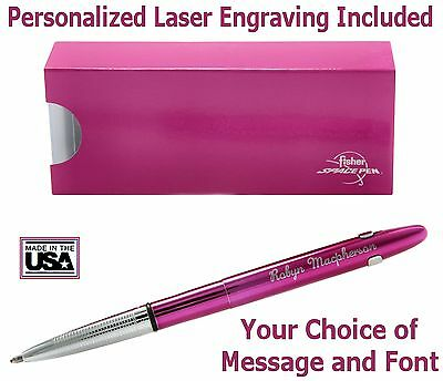 Fisher Personalized #400FFCL/P- Fuchsia Flurry  Bullet Space Pen with Clip