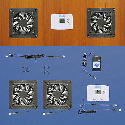 2-Zone AV cabinet cooling fans/Digital thermostat/multi-speed fans/Home Theater
