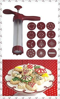 Nordicware SPRITZ COOKIE & TREATS PRESS GUN 12 Disc Shapes, See-Thru Dough Level