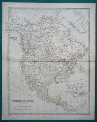 North America Antique Map Outine Colour Johnston 1873