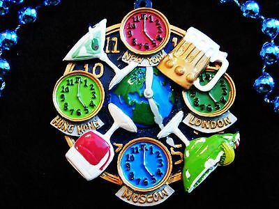 """5 O'clock Somewhere"" Mardi Gras Necklace Bead Buffett Margaritas Clock  (B640)"