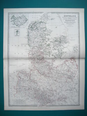 Denmark Germany Hanover Antique Map By Johnston 1873