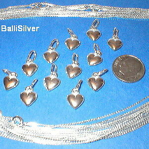 100 Sterling SILVER Small HEART Pendants +100 Chain Lot