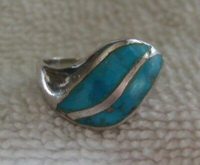 Vintage Sterling Silver Turquoise Inlay Ring Size 5.5