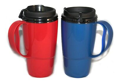 2 Foam Insulated 16oz ThermoServ Travel Mugs Red & Blue